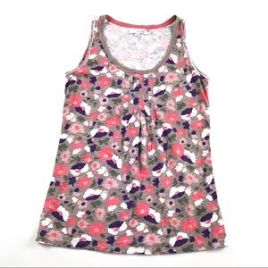 Boden Floral Tank Top Sz 6 Raw Edge